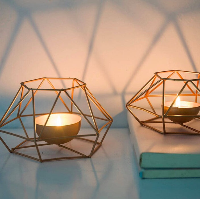Rose Gold Iron Geometric Candle Holder