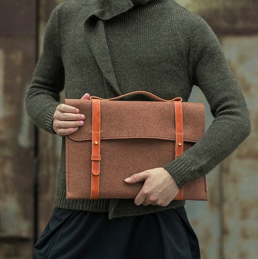 Slim Wool Felt Laptop Messenger Bag