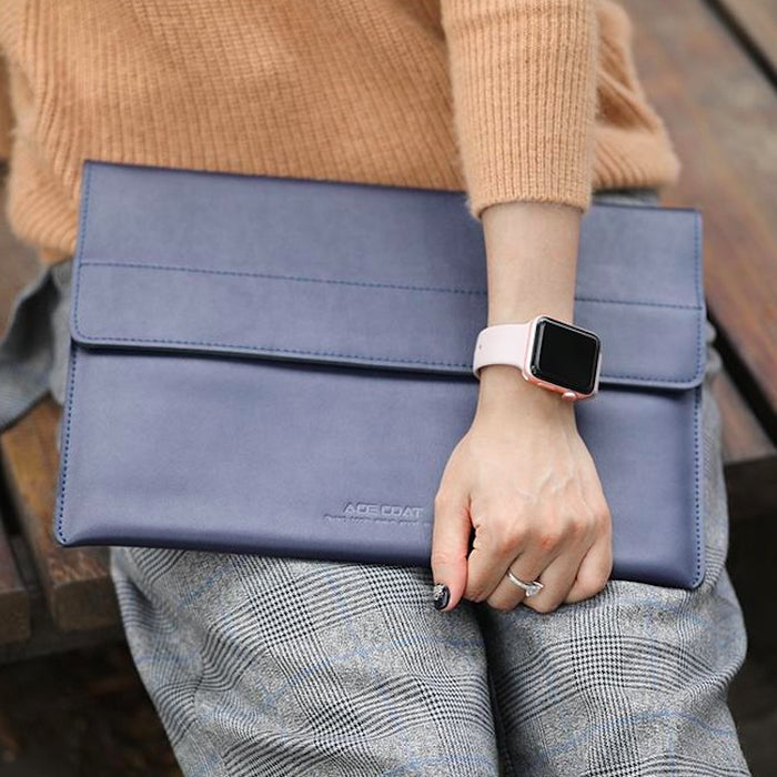 Split Leather Magnetic Laptop Sleeve
