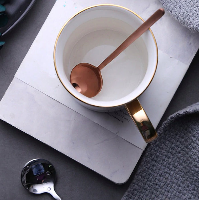 Two-Tone Minimalist Metallic Dessert Spoon