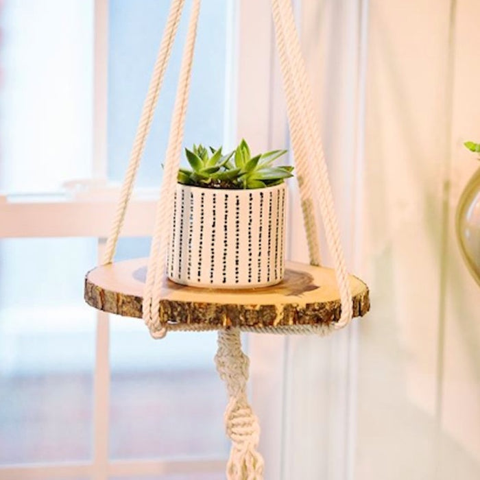 Vintage-Inspired Macrame & Wood Plant Holder