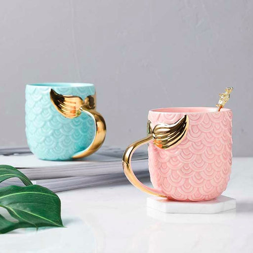 Whimsical Gold Mermaid Tail Mug