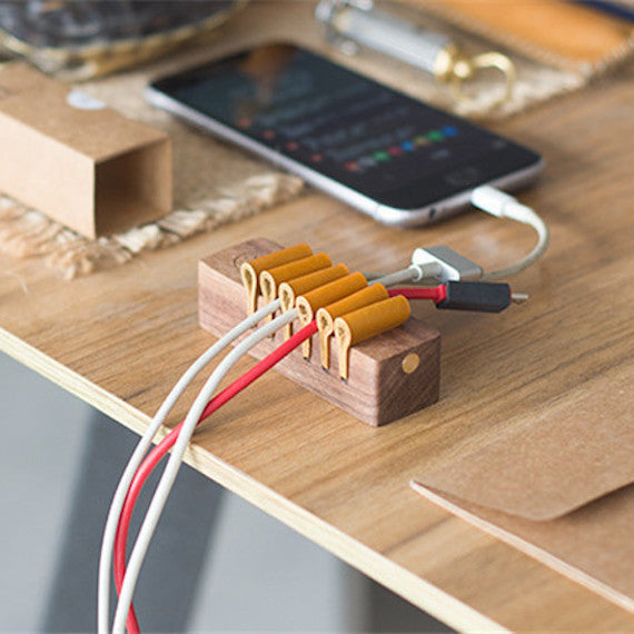 Wooden Desktop Cable Organizer