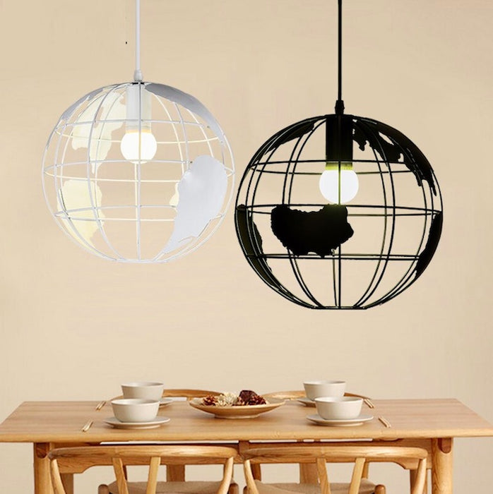 Wrought Iron Globe Cut-Out Chandelier