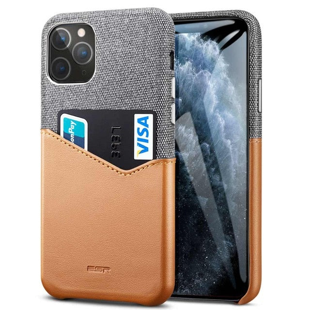 Cloth & PU Leather Slim iPhone 11 Pro Wallet Case