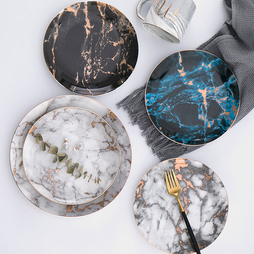 Gold-Accent Marble Dinner Plates