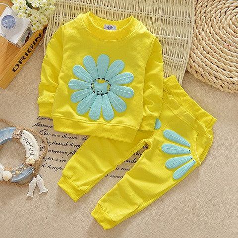 Girls Trackies Baby Trackies Girls TrackSuit Summer Tracksuit Girls SunFlower Tracksuit Baby sunflower tracksuit