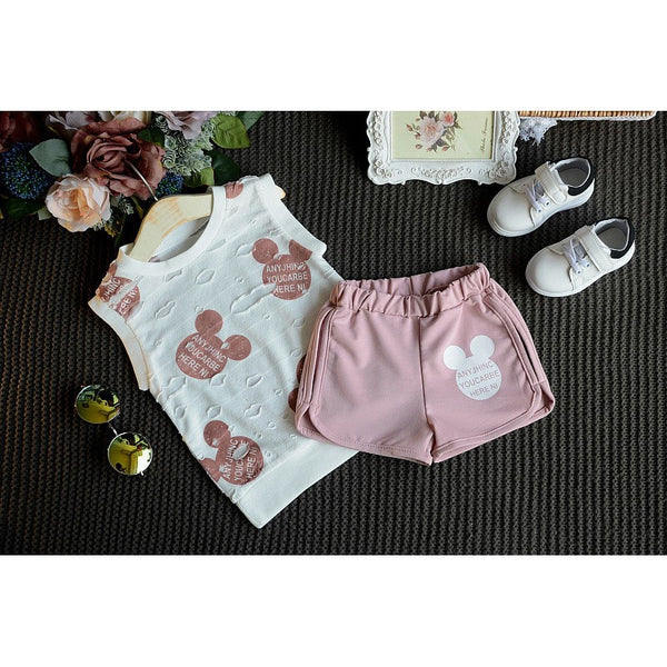 Girls Print T-shirt & Short set printed tee cute pink short set sleeveless tee summer clothes summer style girls fashion kids clothes girls clothes