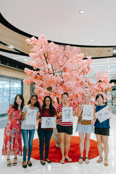 Art workshop at Marina Square Shopping Centre with Sydney Artist Grace