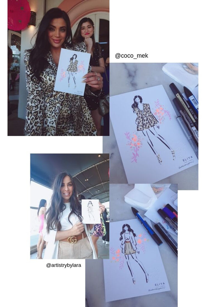 Eliya the Label Live Illustration with Sydney Fashion Illustrator A little bite by Grace