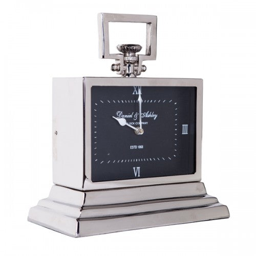Luxury Small Silver Nickel Mantle Clock In Black