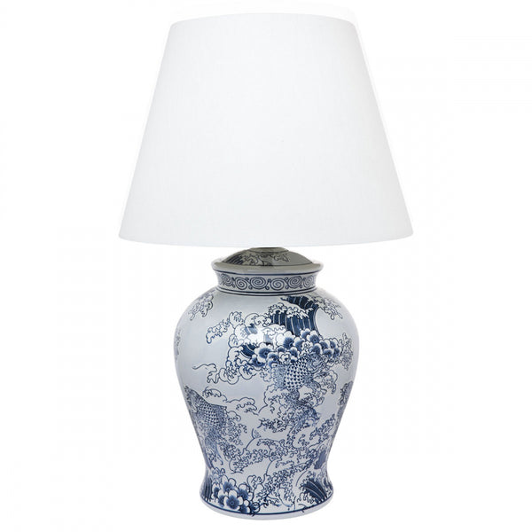 Blue & White Wave Lamp With White Linen Shade