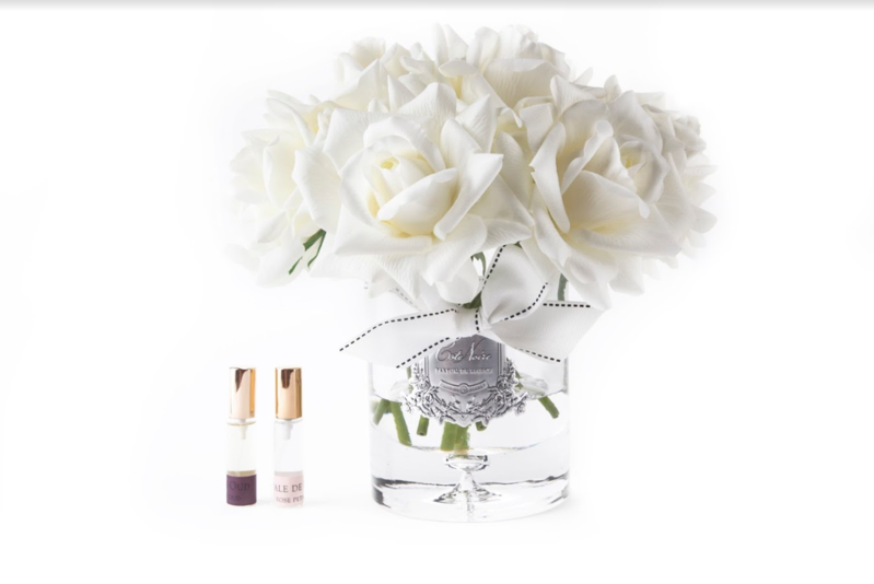 Côte Noire Luxury Grand Perfumed Natural Touch Twelve Roses In Clear Glass