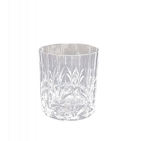 Set of Six Acrylic Crystal Cut Tumblers With Silver Rim