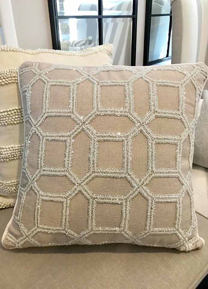Beige Linen Hand Beaded Cushion With Insert