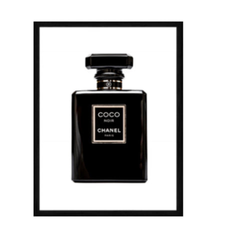 Chanel Coco Noir Designer Print In Black Gloss Frame