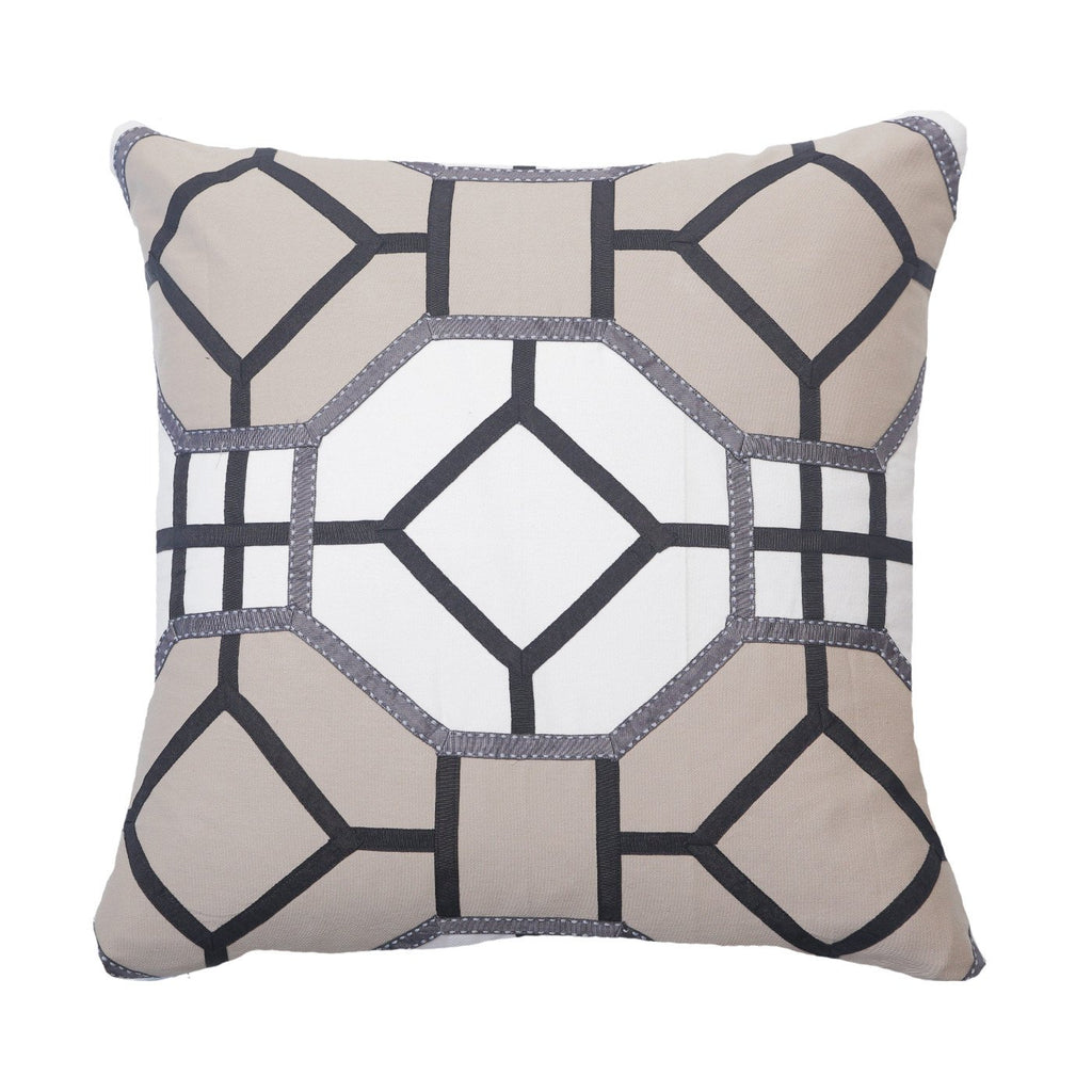Geometric Designer Lounge Cushion In Natural 50x50cm