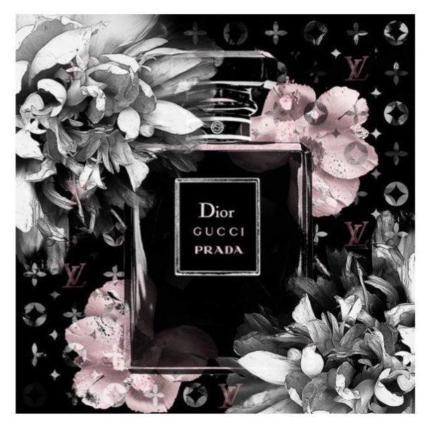 Embellished Perfume Bottle Black Gloss Framed Designer Print