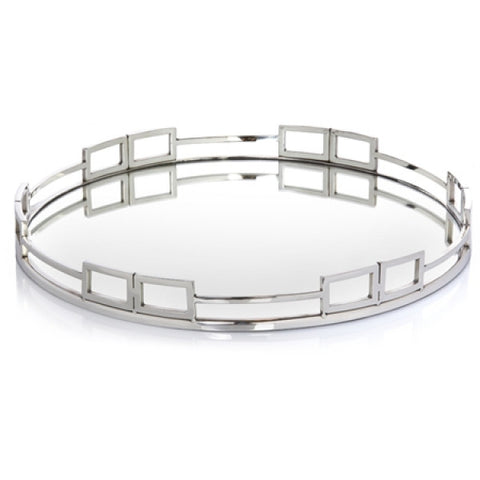 Manhattan Round Silver Mirrored Tray