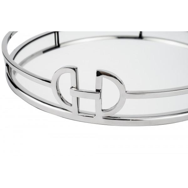 New York Round Silver Mirrored Tray