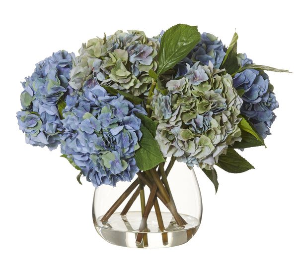 Hydrangea Garden Mix Set In Glass Vase - SECONDS