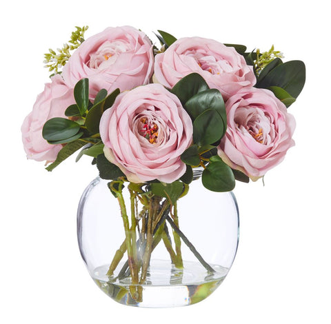Pink Roses Mix In Thick Glass Bowl With Rim