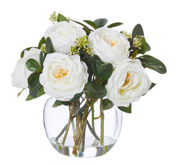 White Roses Mix In Thick Glass Bowl With Rim