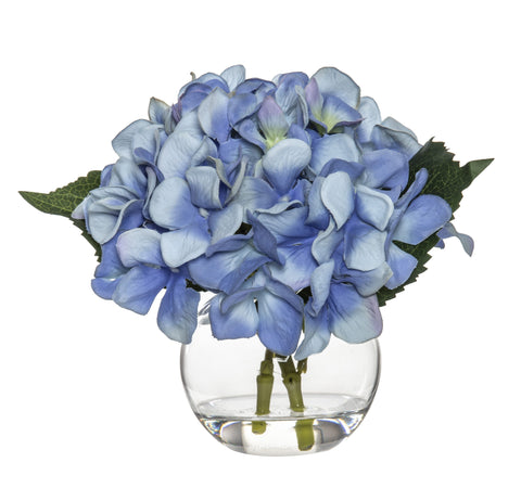 Mini Blue Hydrangea In Sphere Vase - SECONDS