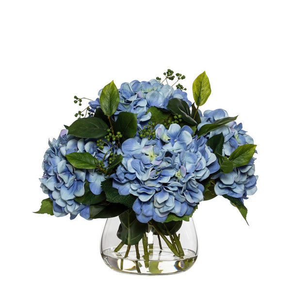 Blue Hydrangea And Berry Mix In Classic Vase