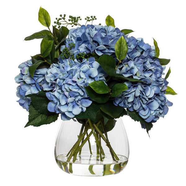 Large Blue Hydrangea And Berry Mix In Classic Vase