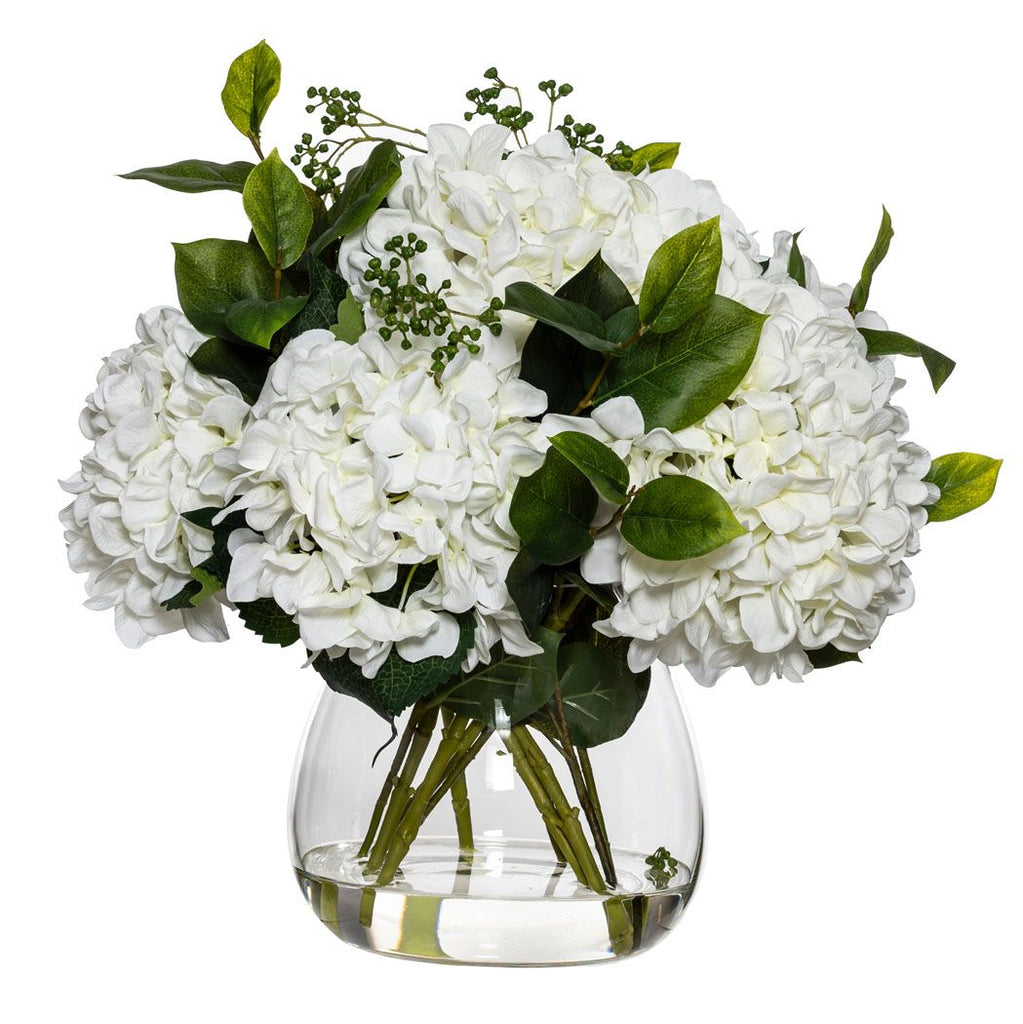 Large White Hydrangea And Berry Mix In Classic Vase