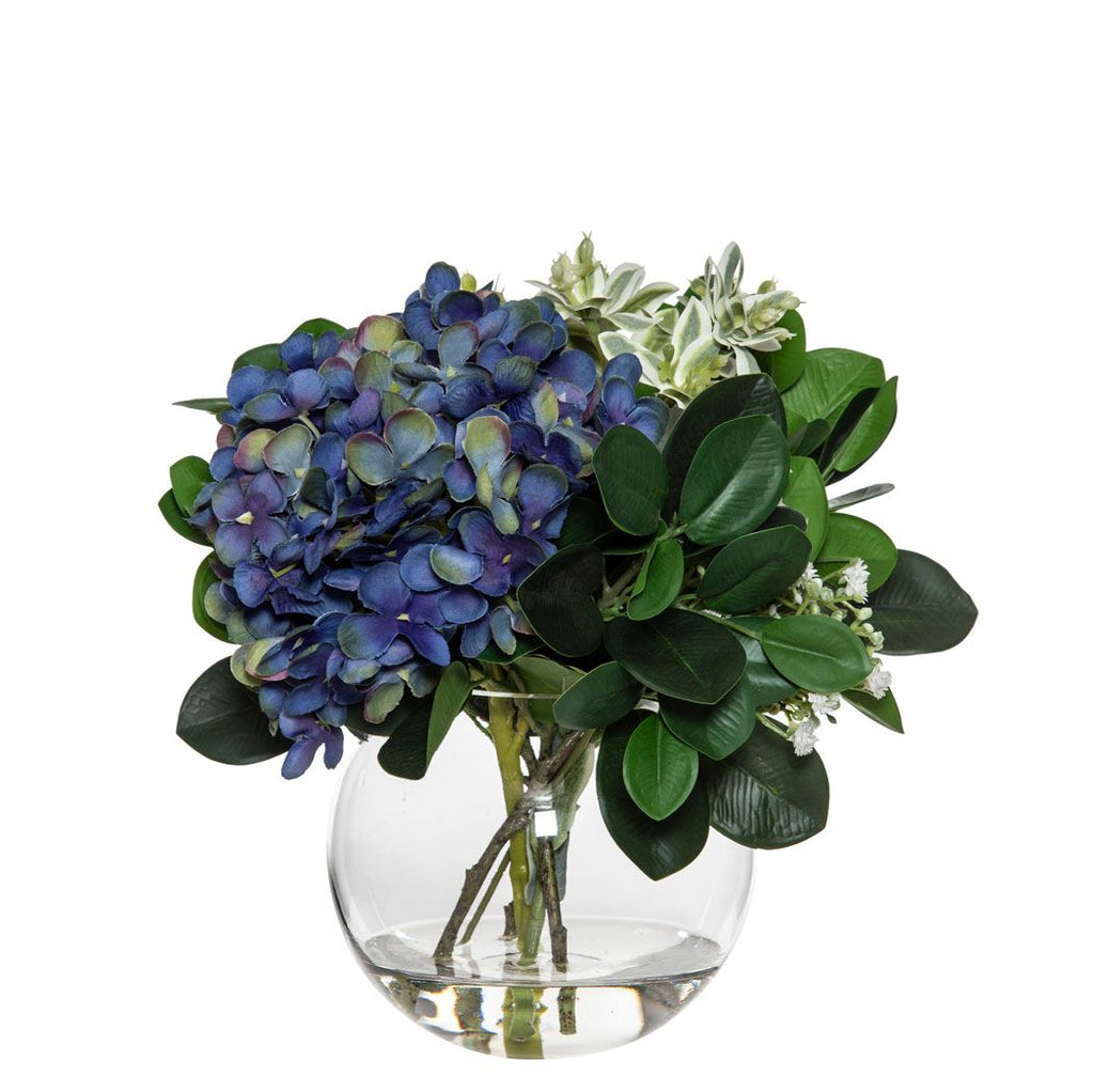 Medium Dark Blue Hydrangea Mix In Sphere Vase