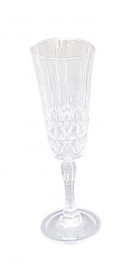 Set of Six Acrylic Crystal Cut Champagne Glasses With Silver Rim
