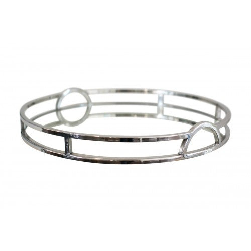 Luxury Silver Round Mirrored Tray With Handles