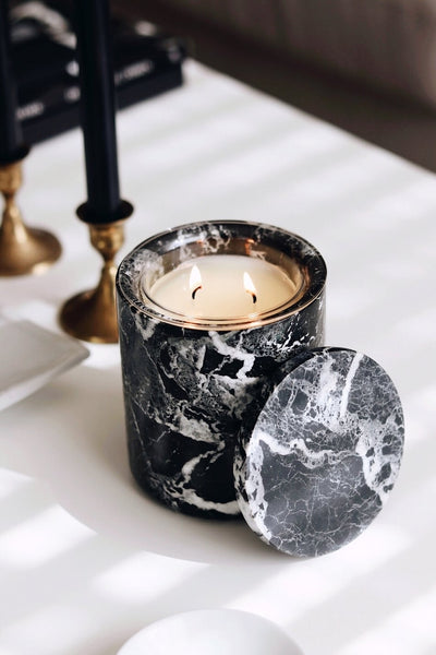 Luxury Black Marble Candle Holder With 1 x Rosa 1928 Candle Refill