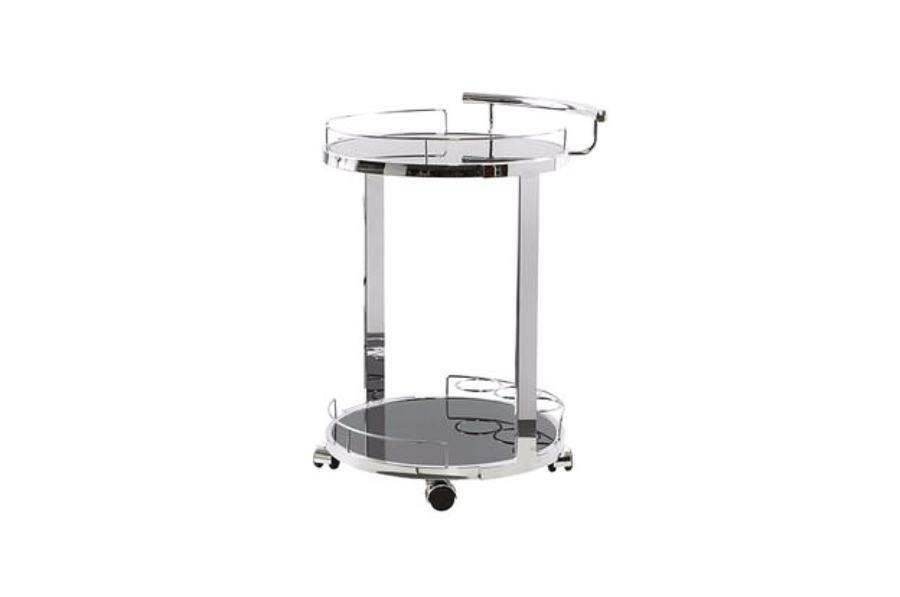 Black & Chrome Round Bar Cart