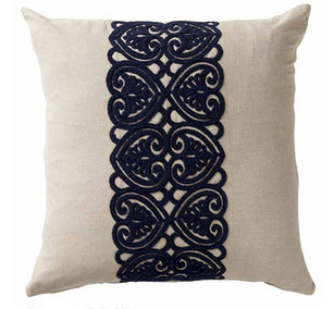 Beige And Navy Cushion 50cm