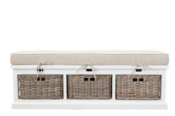 Ottoman Storage Seat With Cushion & Rattan Baskets - PREORDER