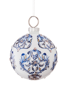 Blue & White Ball Christmas Ornament