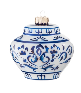 Blue & White Squat Jar Christmas Ornament