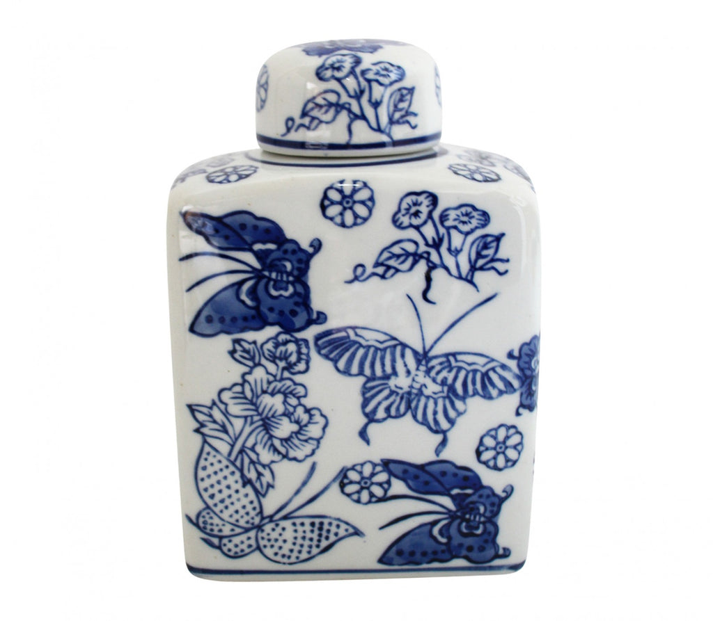 Blue & White Butterfly Jar