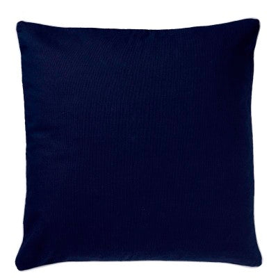 Navy Canvas Cushion With White Piping 60cm