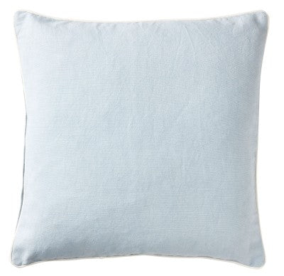 Sky Blue Canvas Cushion With White Piping 60cm