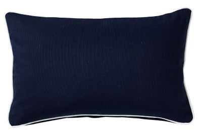 Navy Canvas Lumbar Cushion With White Piping 30cm x 50cm