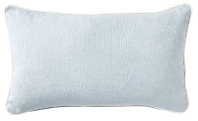 Sky Blue Canvas Lumbar Cushion With White Piping 30cm x 50cm