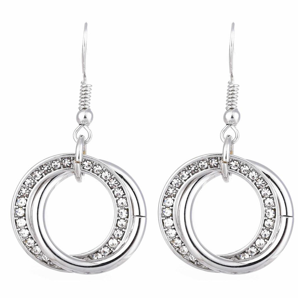 Silver And Diamante Two Ring Earrings
