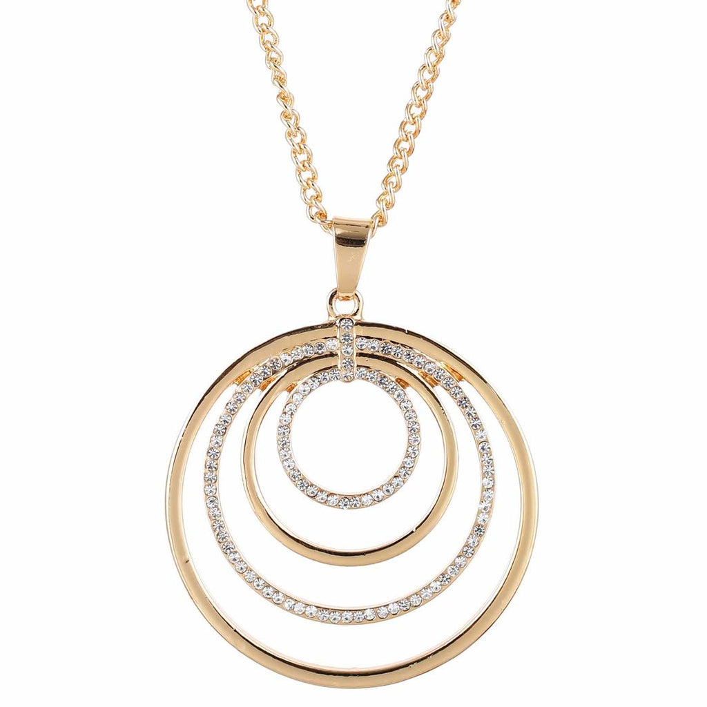 Gold And Diamante Four Ring Circle Necklace