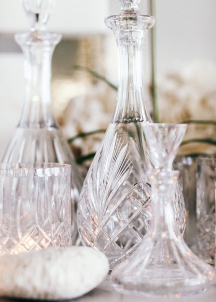 Spear Cut Large Crystal Decanter