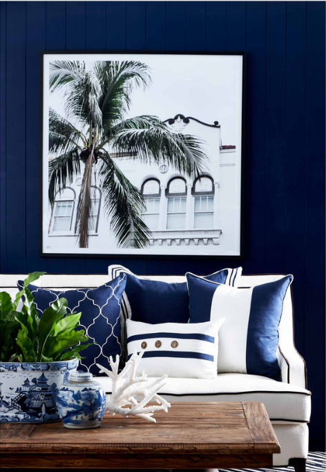 Hamptons Navy And White Cushion 50cm
