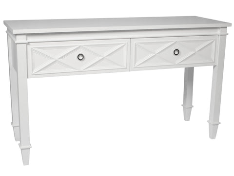 White Diamond Two Drawer Console